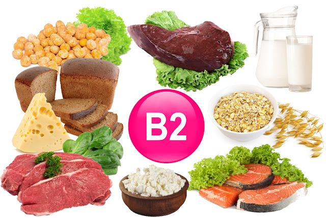Food sources of vitamin B 2, isolated on white
