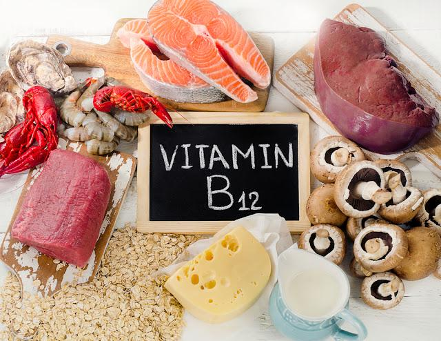 Natural sources of Vitamin B12 (Cobalamin). Healthy diet eating. Top view