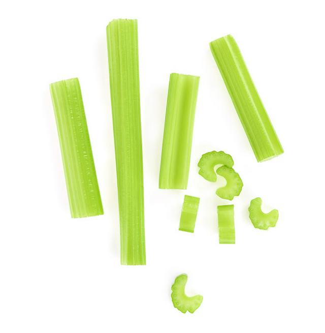 Top view of celery isolated on white background